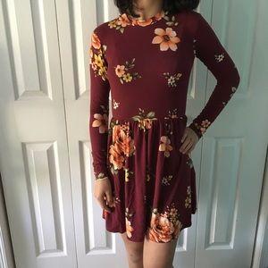 Maroon Flower Long Sleeve Dress